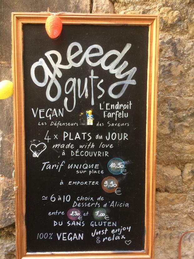 Carte Greedy Guts resto végane à Caen